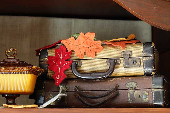 Vintage suitcases used in fall decor