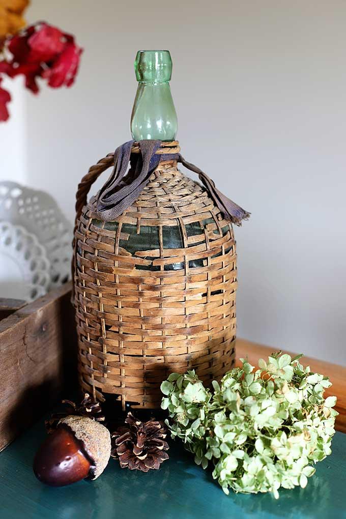 Vintage wicker covered Bacardi bottle