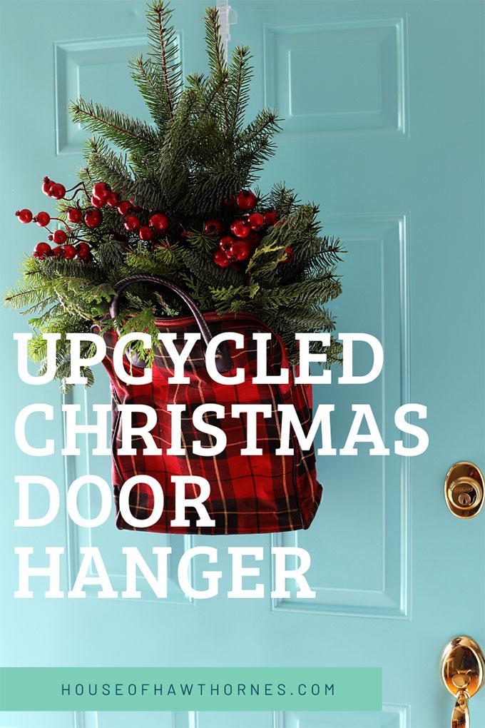 upcycled Christmas door hanger