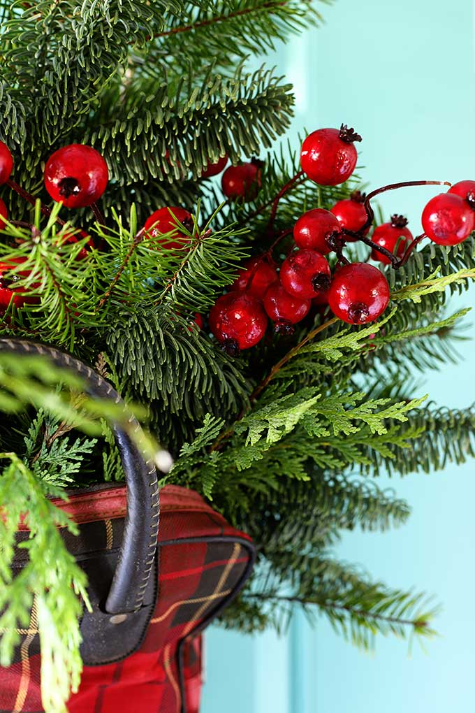 plaid, red and green holiday decor