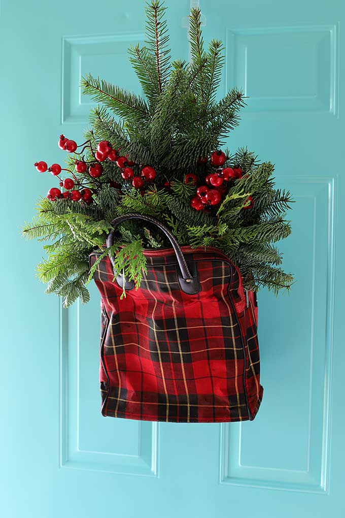 upcycled plaid Christmas door hanger