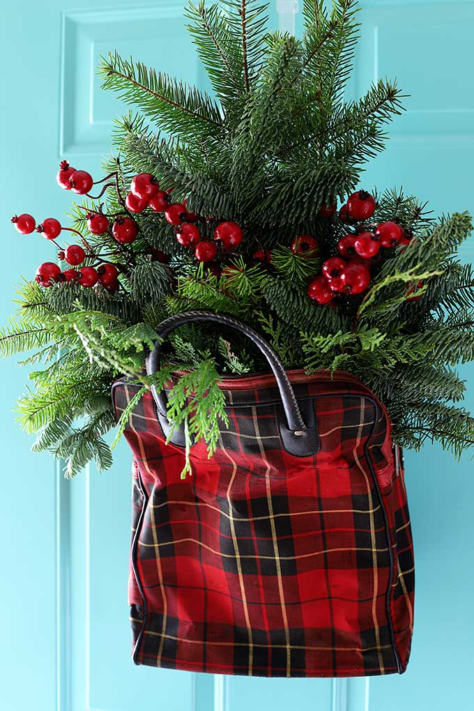 Upcycled plaid tote for Christmas decor