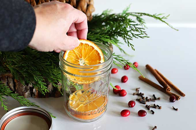 Homemade potpourri Christmas gift in a jar