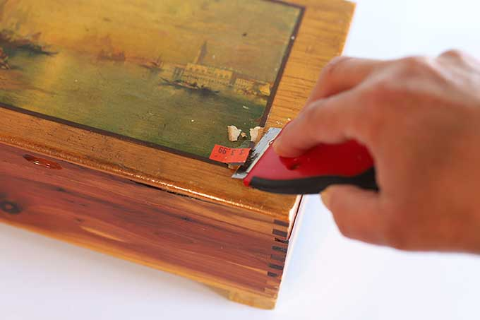Scraping image off cedar box