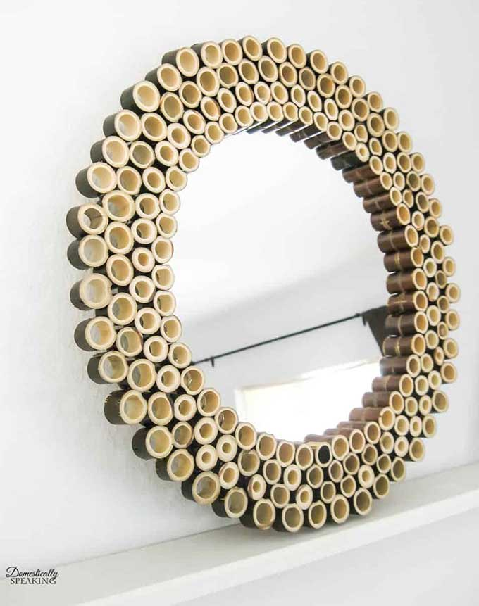 Upcycled mirror using bamboo