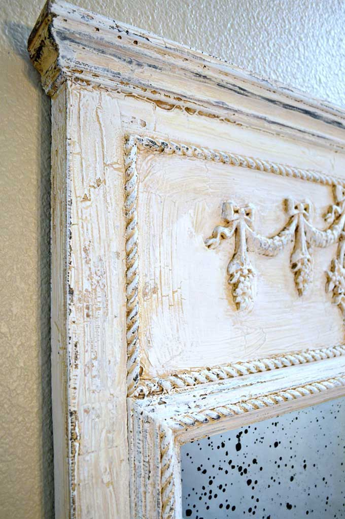 Antique mirror makeover with chalk paint