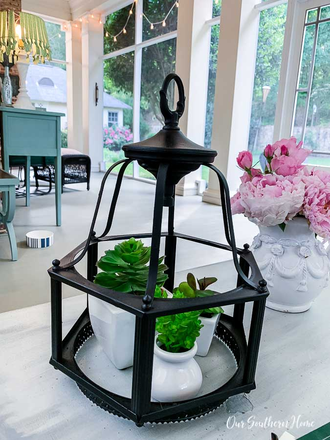 Outdoor light turned summer lantern for porch