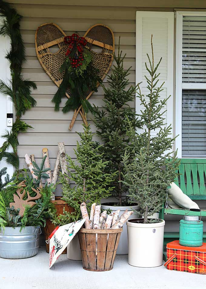 Snowshoes, birch logs and lots of natural decor creates a vintage lodge inspired Christmas porch