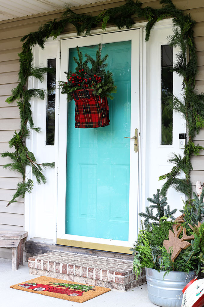 Plaid door hanger for Christmas