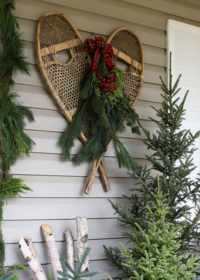 Snowshoes decorated for Christmas decor