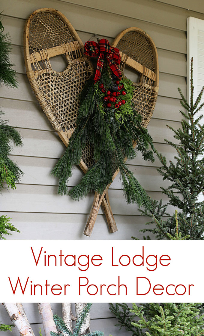 A vintage lodge inspired Christmas porch