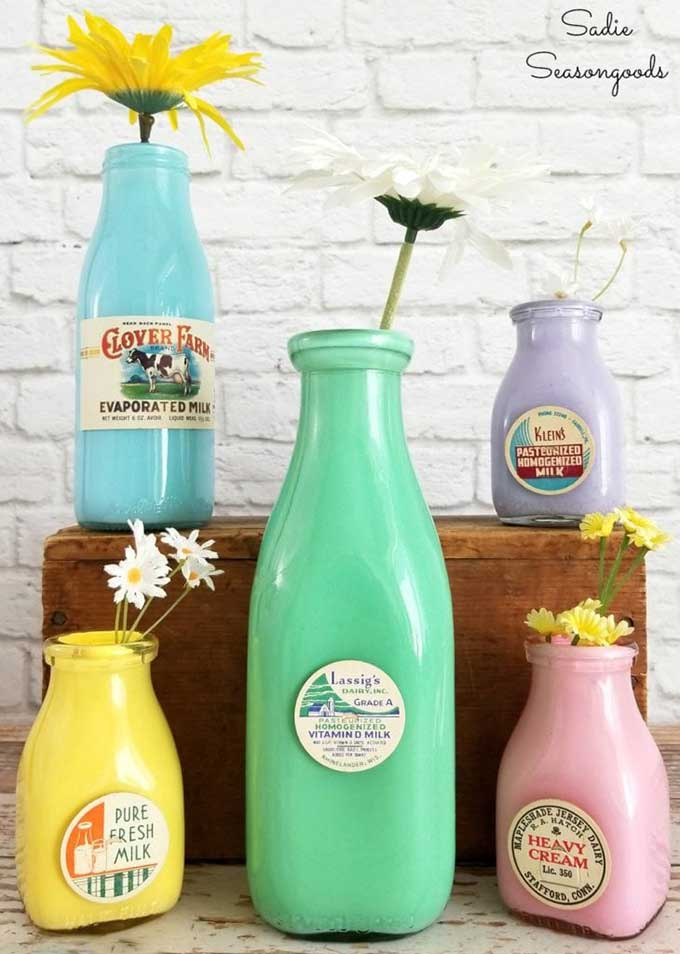 Upcycling bottles into colorful vintage milk bottles