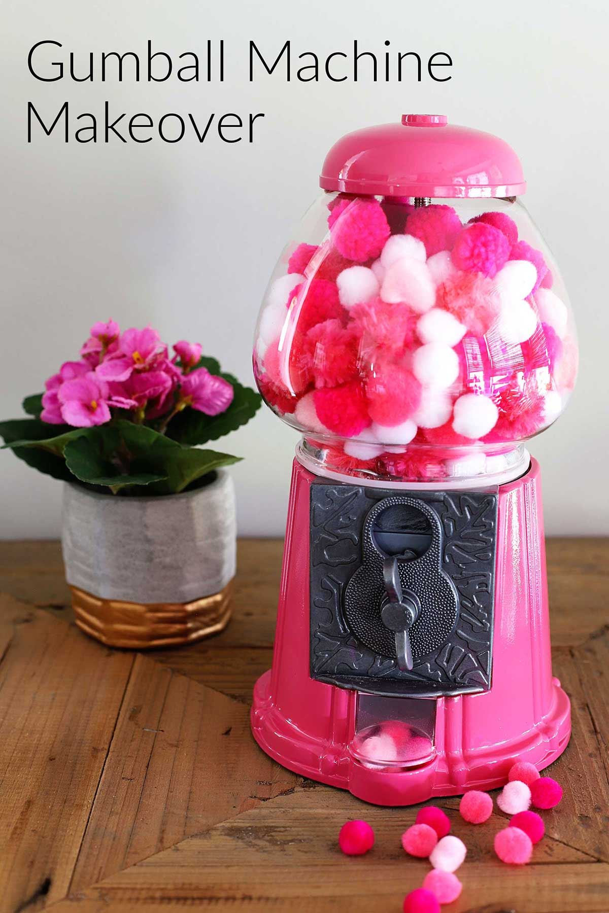 Simple way to upcycle a gumball machine into CUTE and COLORFUL home decor. And these gumball machines can commonly be found at thrift stores!