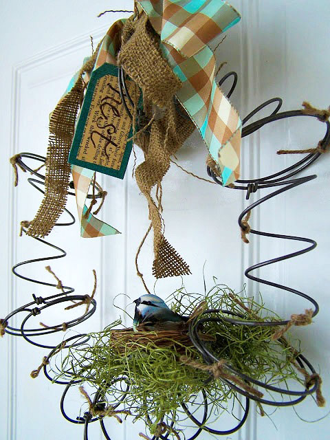 Repurposed spring wreath made from bedsprings