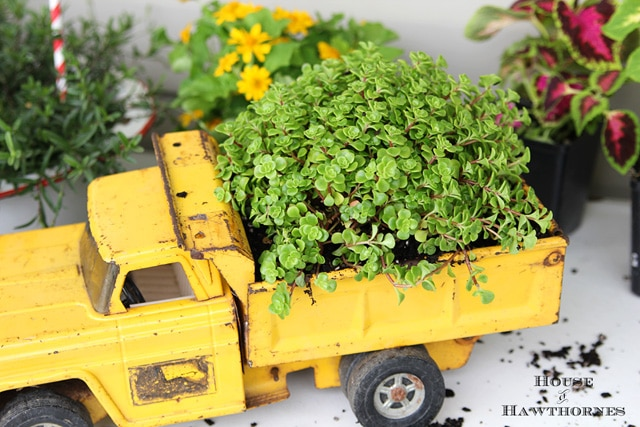 repurposed toy truck planter