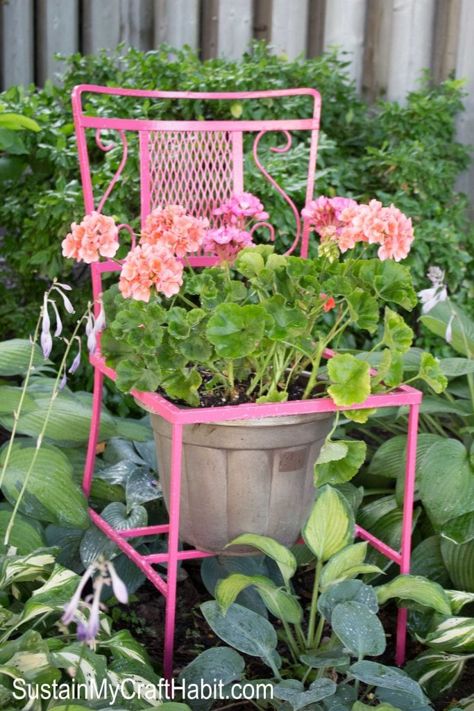 upcycled chair planter