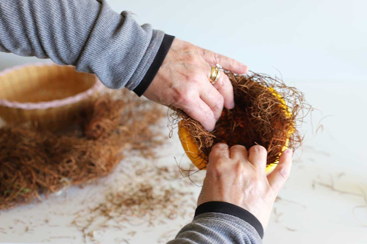 forming DIY bird nest with bowl