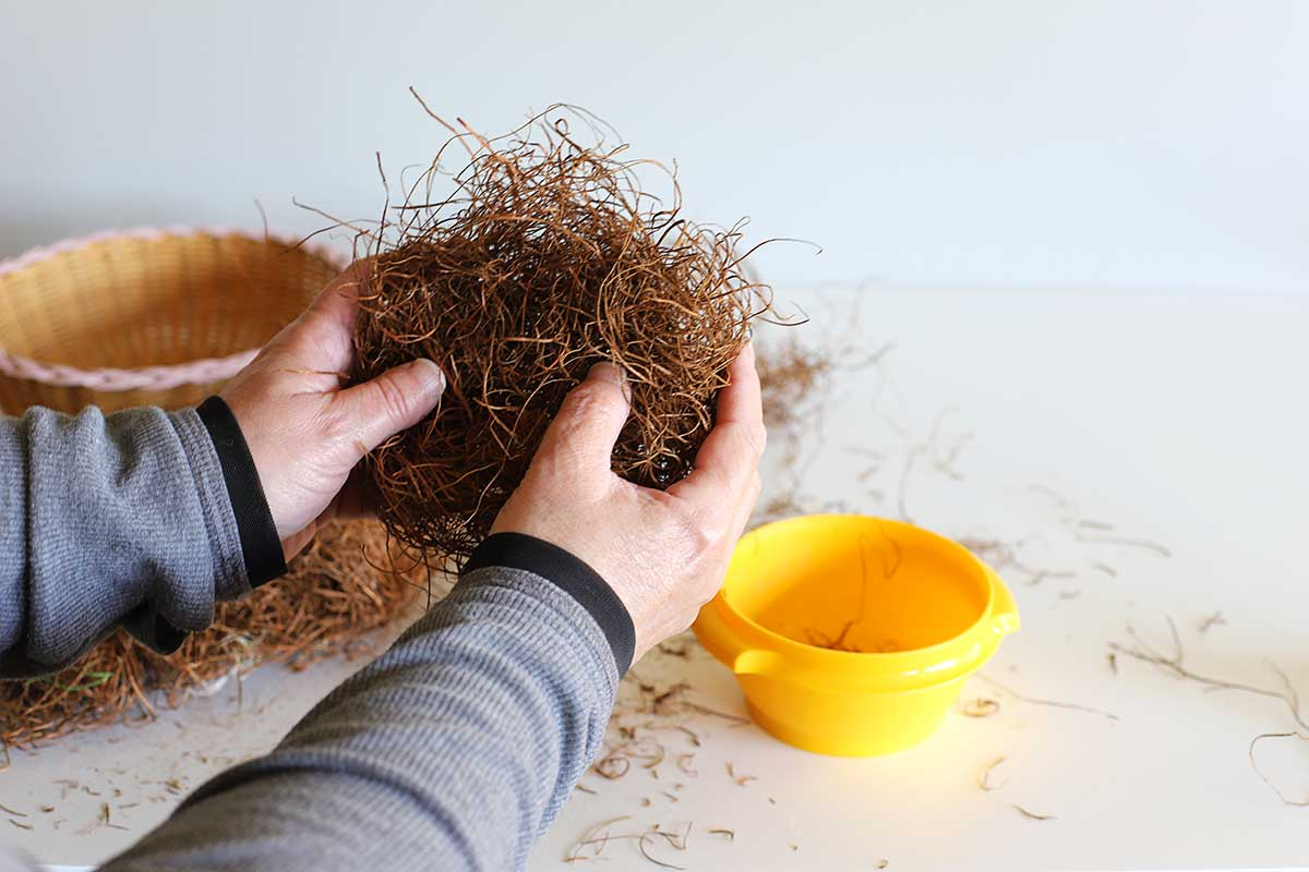 forming sisal for bird nest