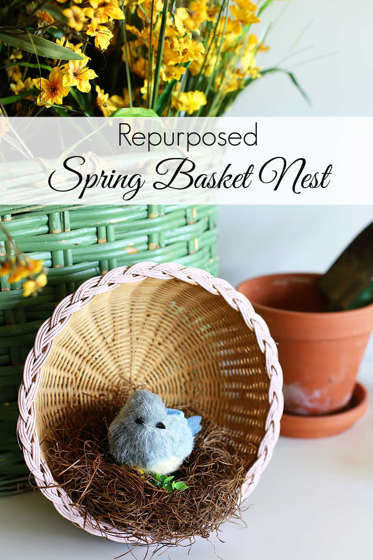 Spring bird nest from repurposed thrift store basket
