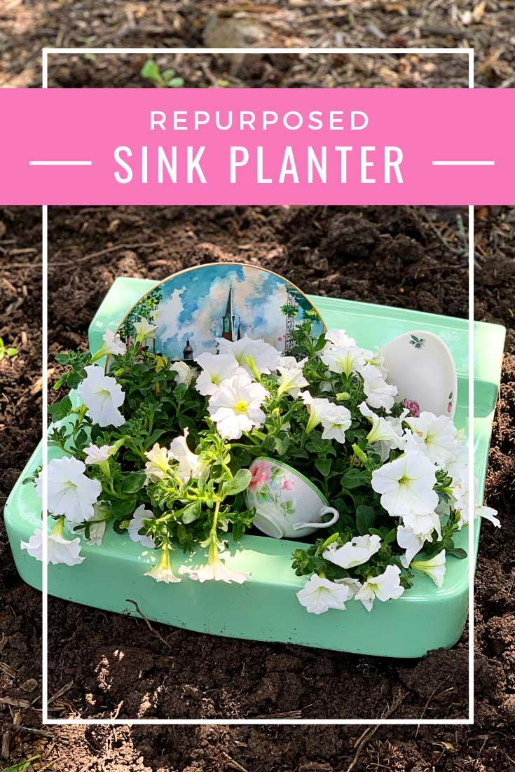 repurposed sink planter tutorial