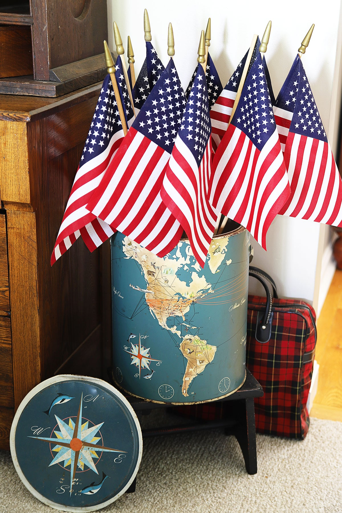 flags in vintage thermos