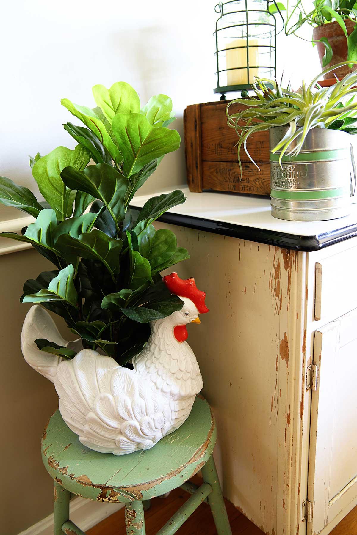 plastic blowmold chicken planter