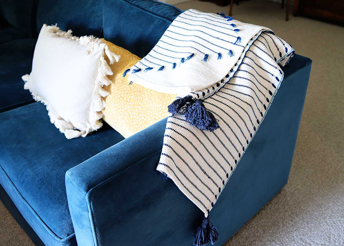 lagoon blue sofa from West Elm