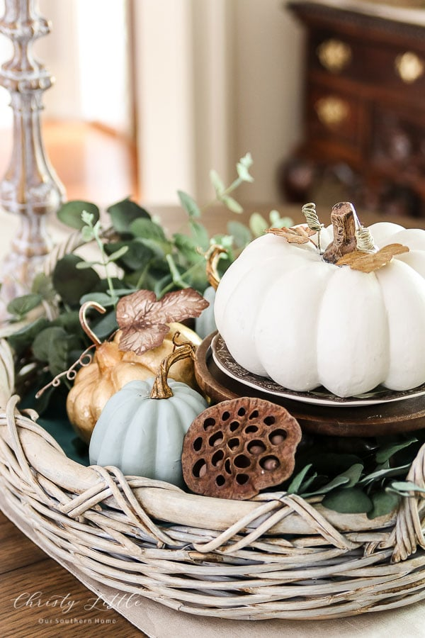 fall display basket for centerpiece