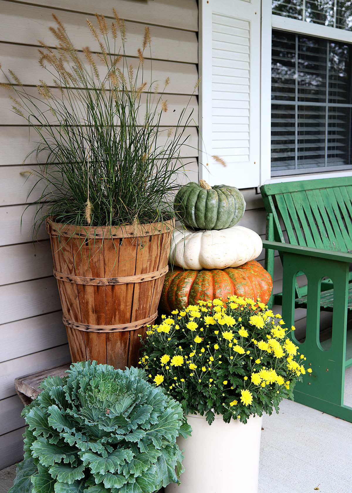floral display for fall on front porch