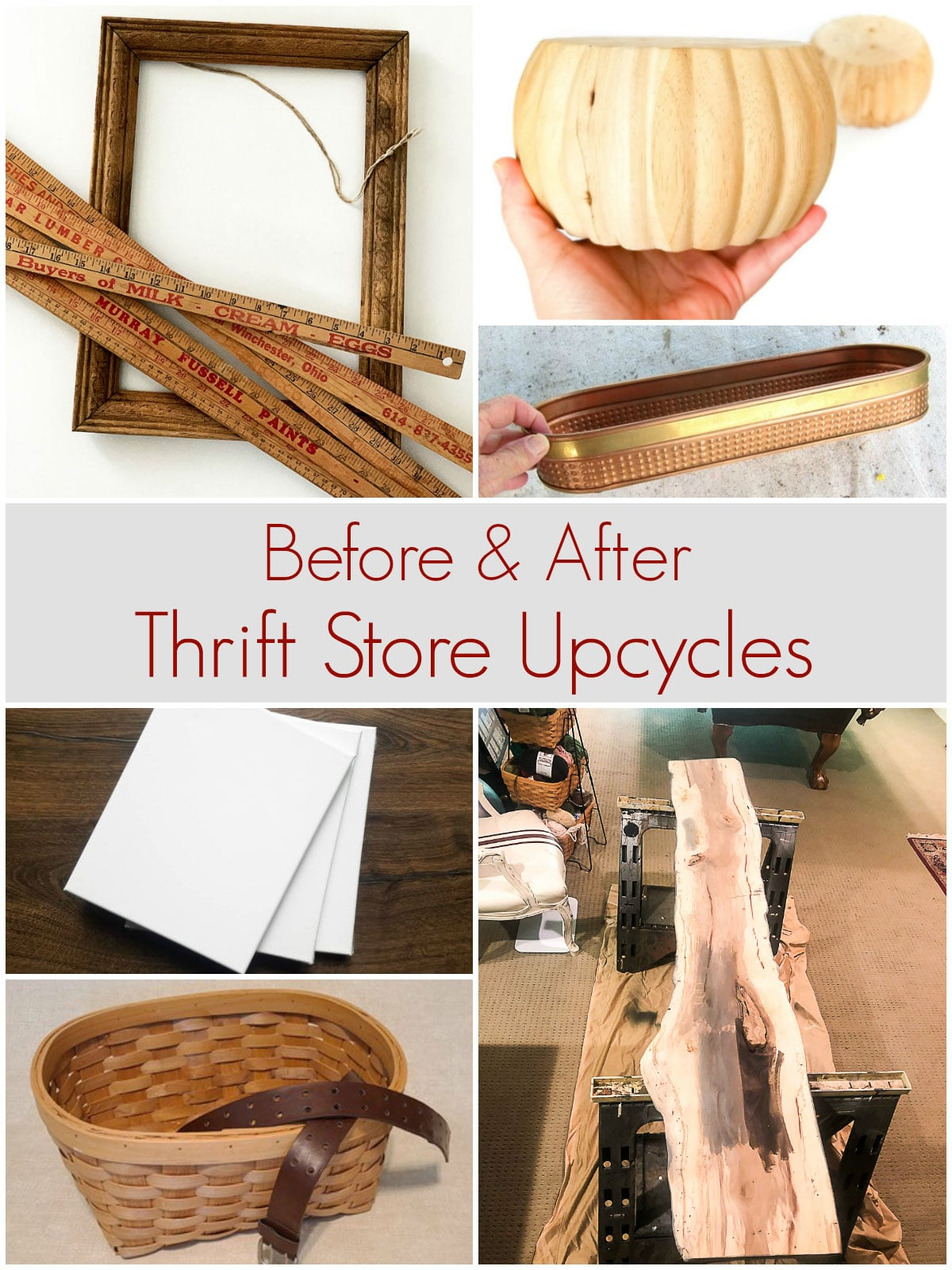 before and after thrift store upcycling projects