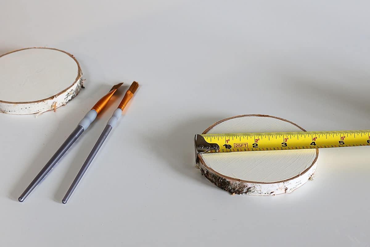 "measuring 4"" wood slice coasters"