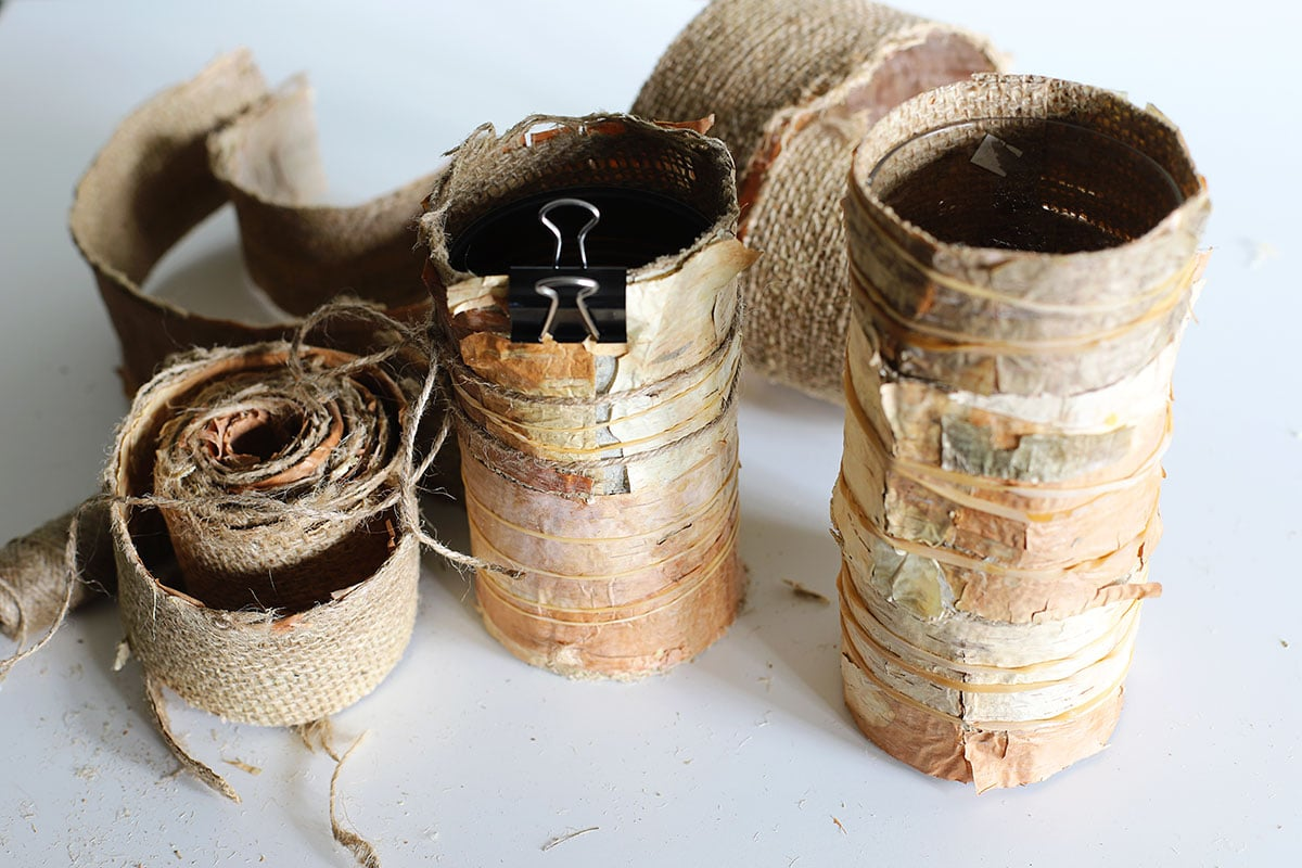 DIY birch bark candles drying
