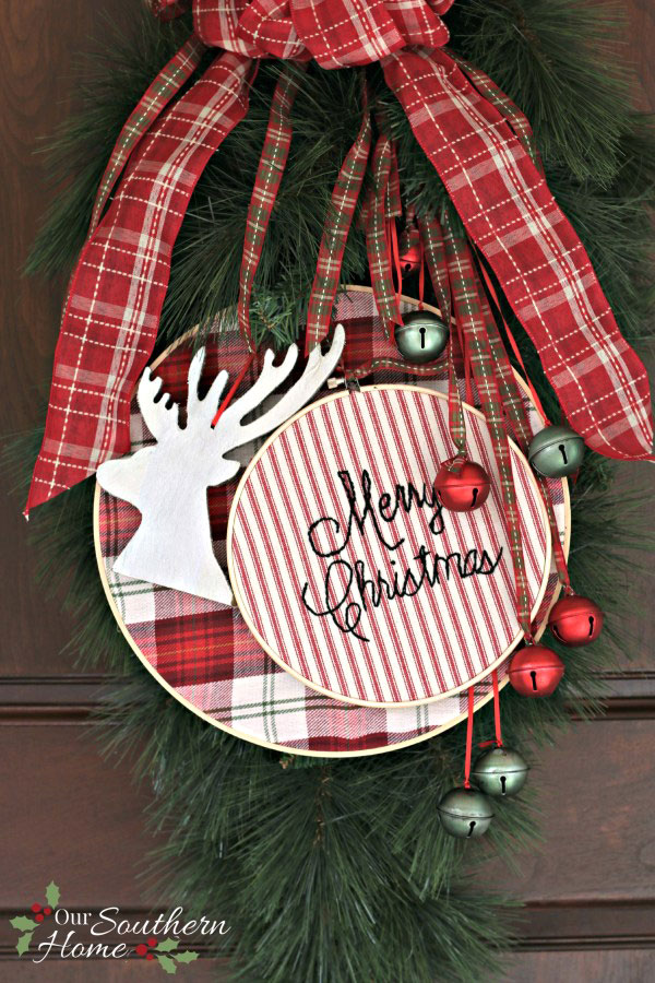 jingle bell and embroidery hoop Christmas door hanger