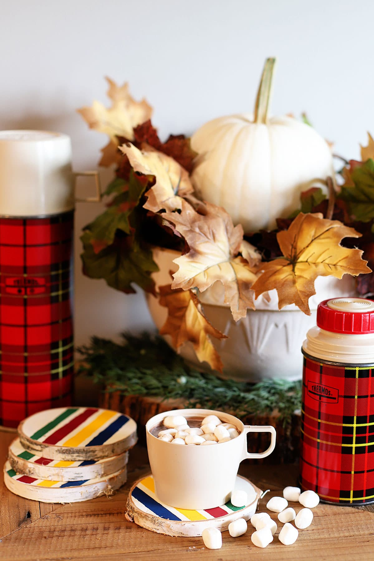DIY fall coasters with Hudson Bay blanket design