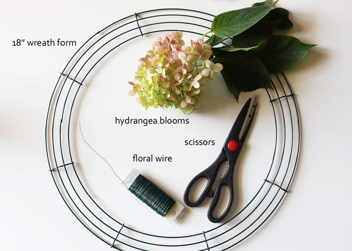 supplies for making hydrangea wreath