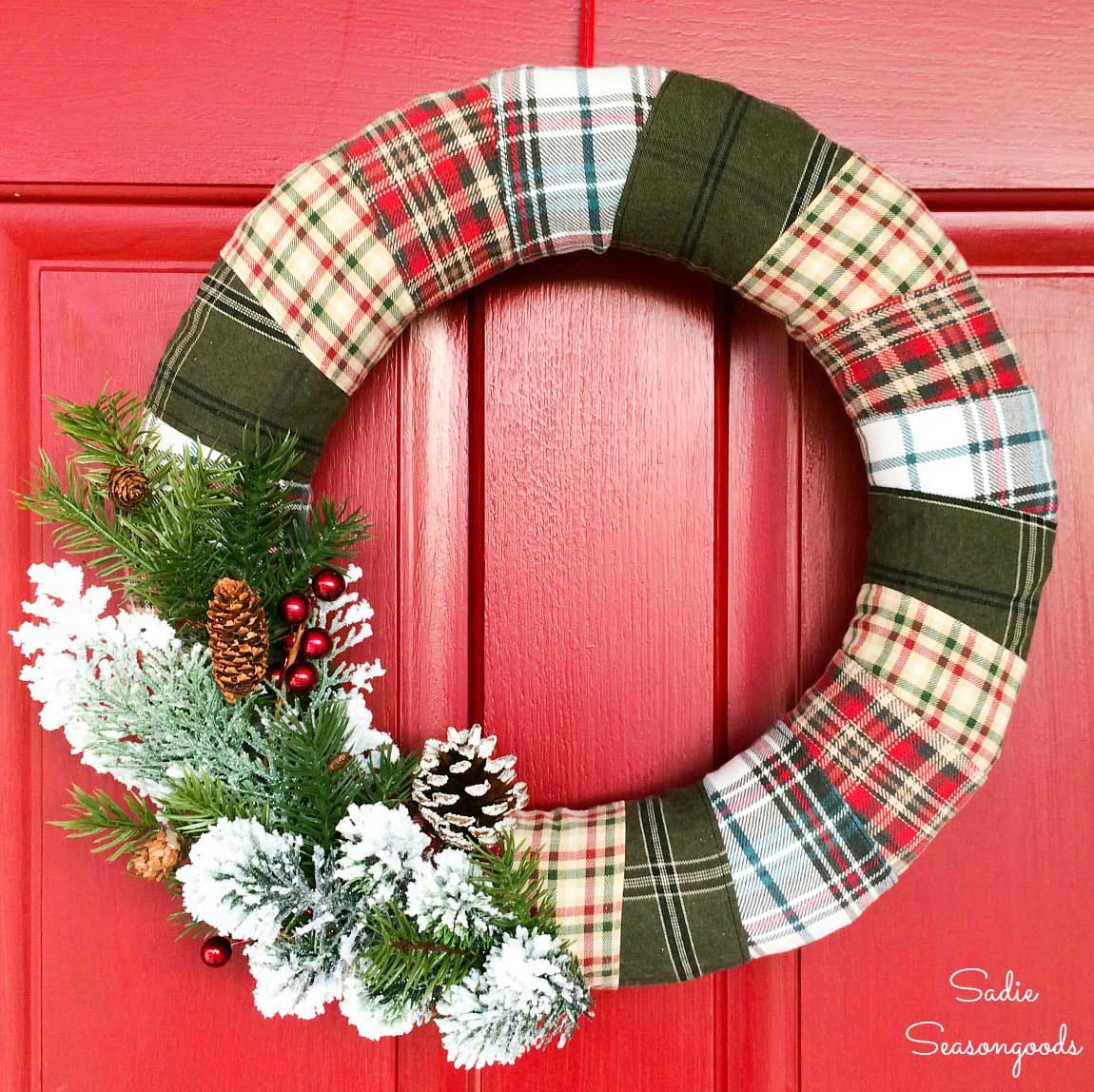 Plaid Christmas wreath made from recycled flannel shirts
