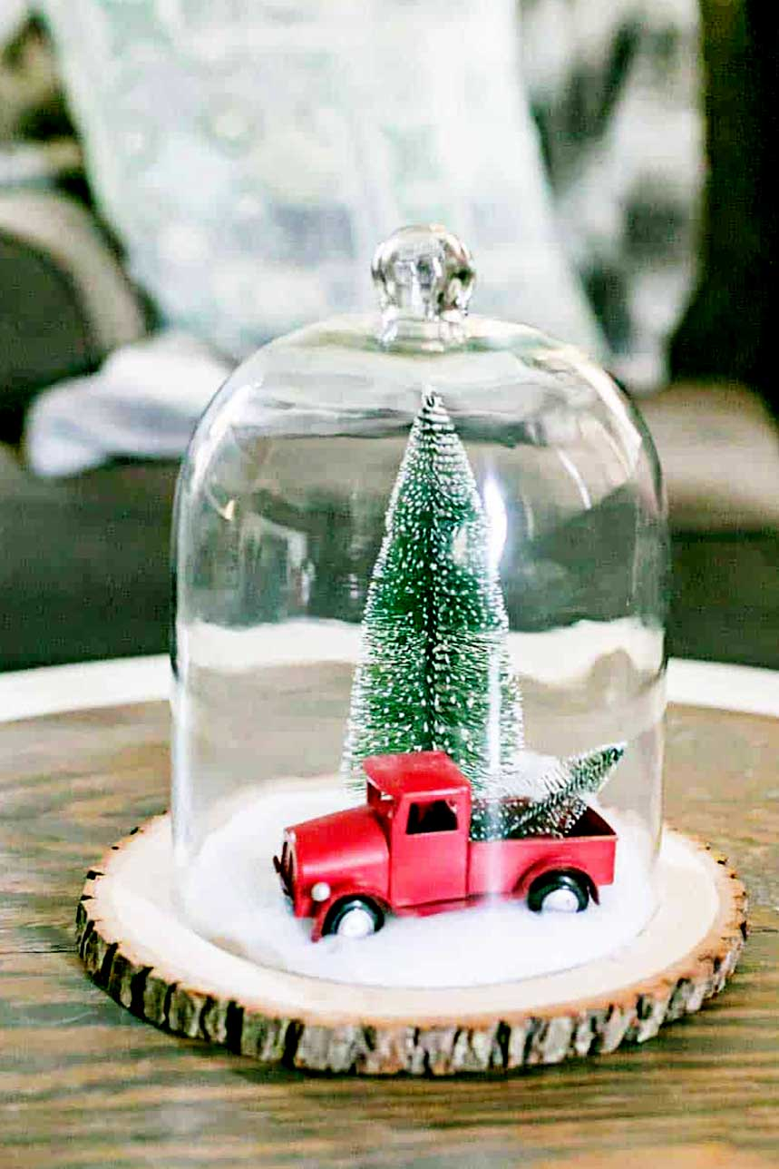 upcycled cloche with red truck winter scene