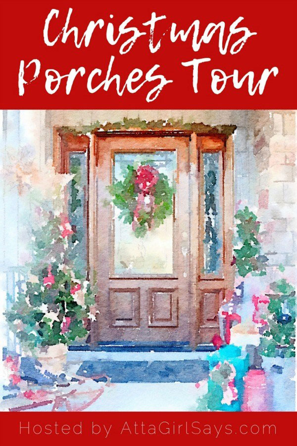 pinnable image for Christmas porch tours