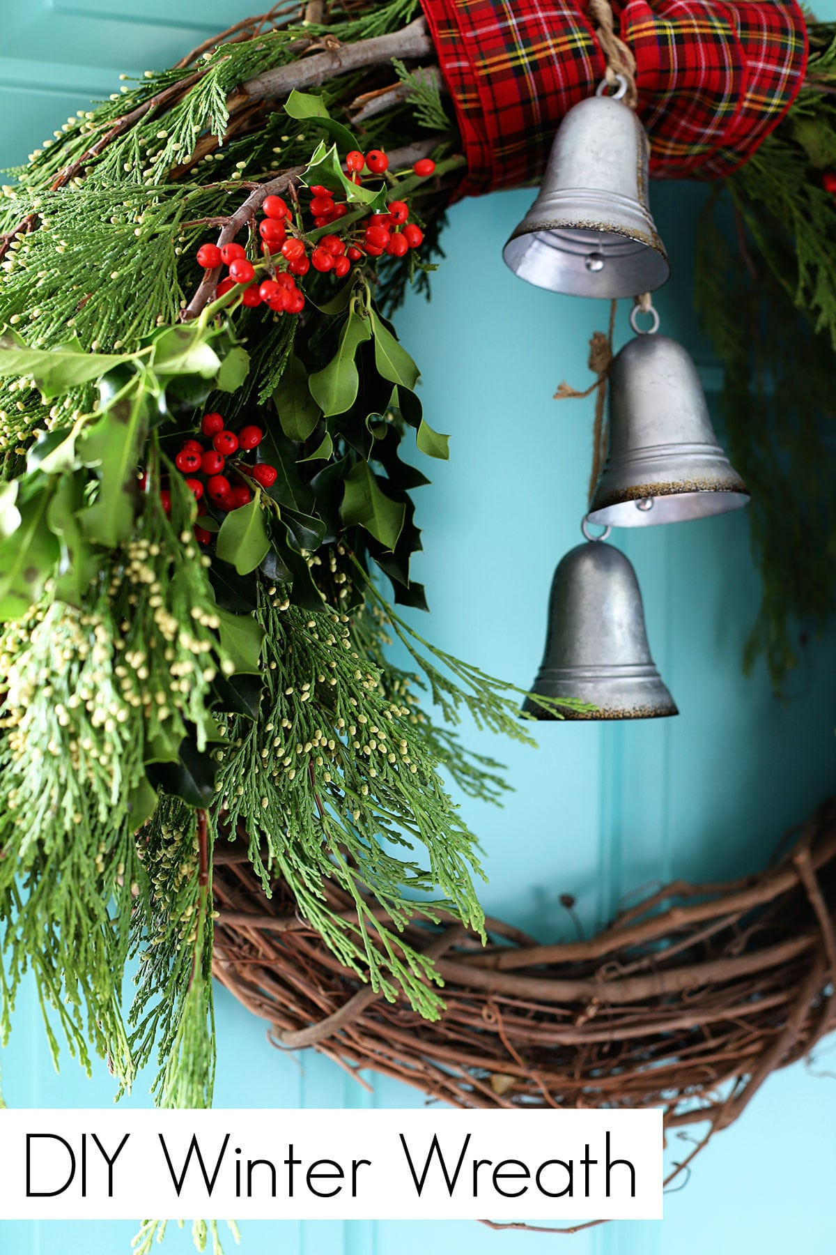 DIY winter wreath made with cedar boughs and holly