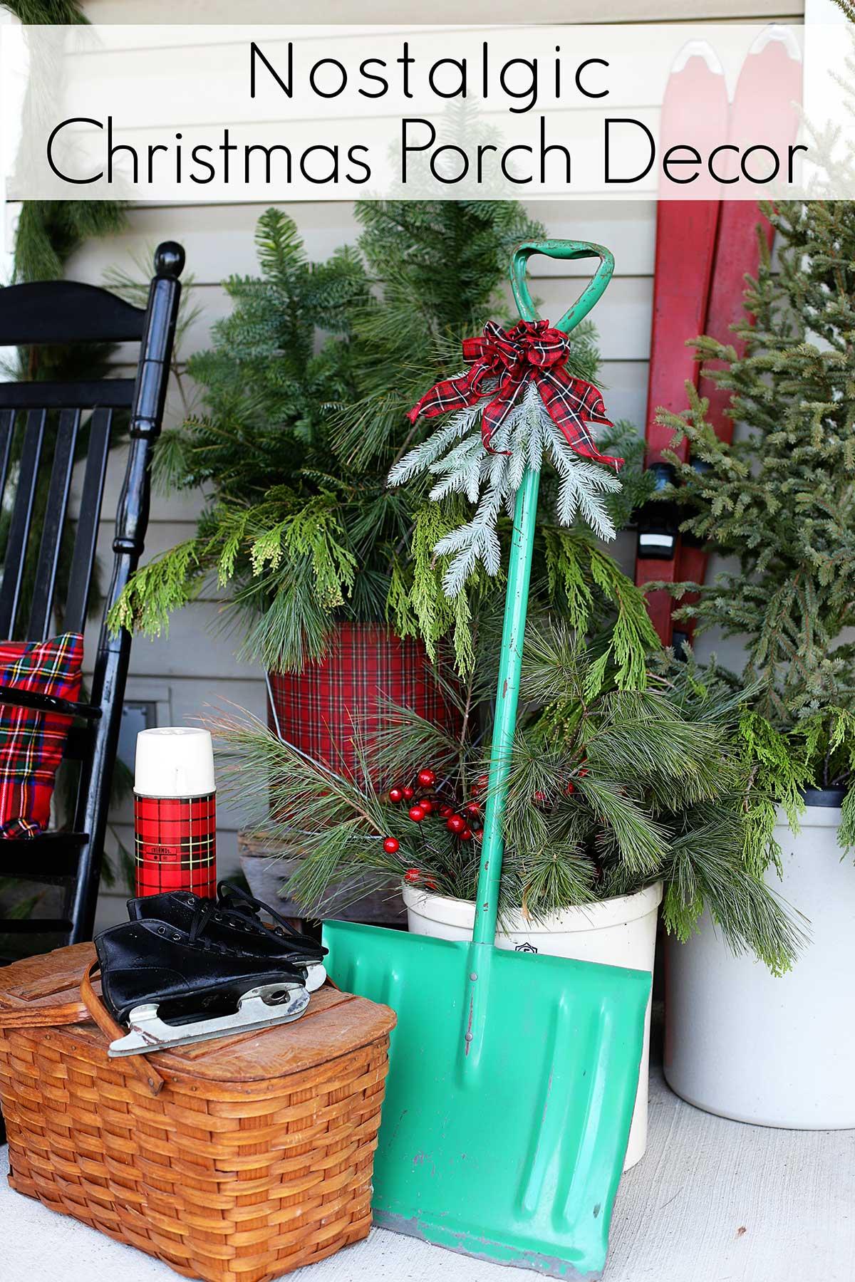 pinnable image for nostalgic Christmas porch decor