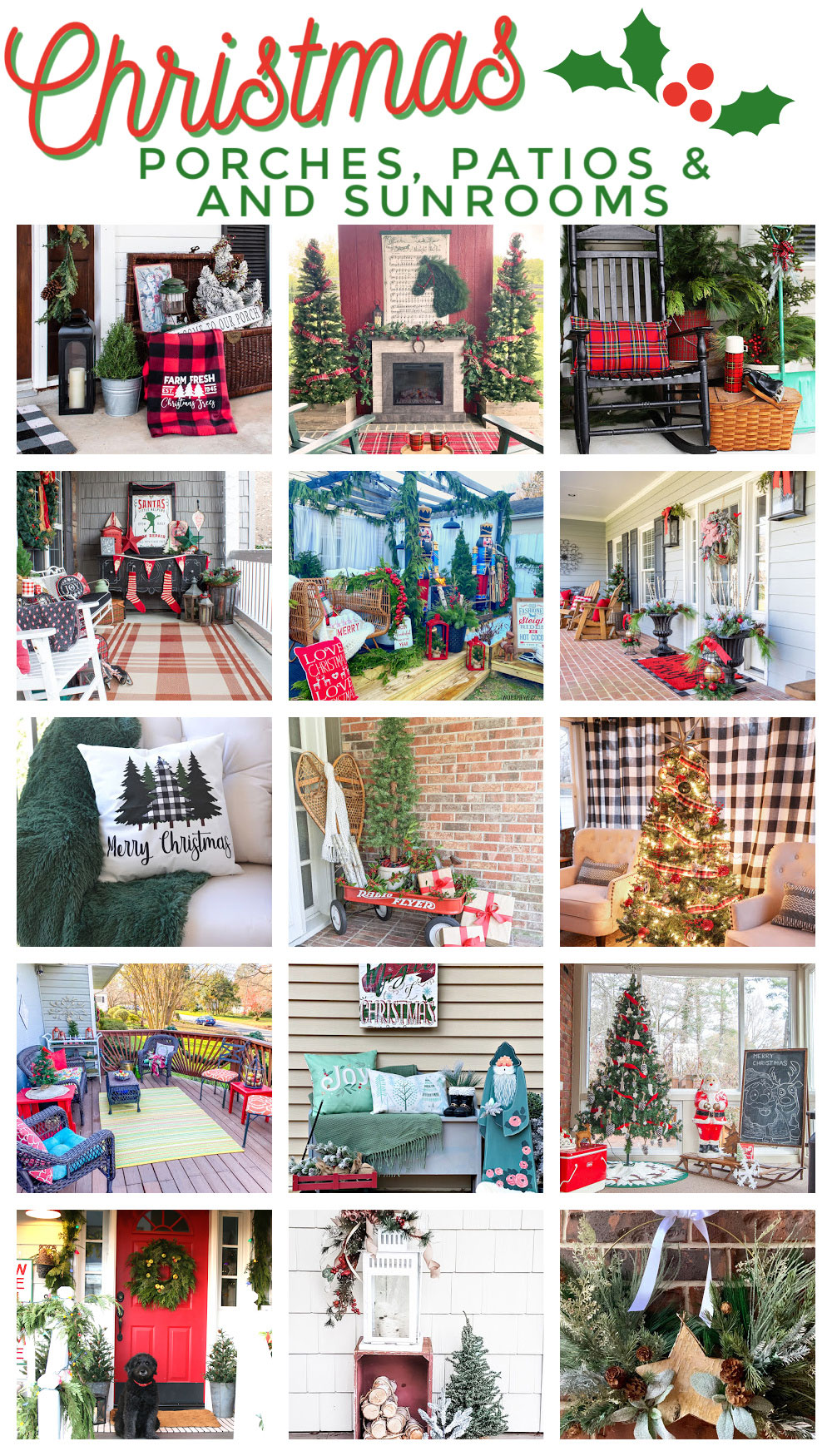 a collage of many porches decorated for Christmas