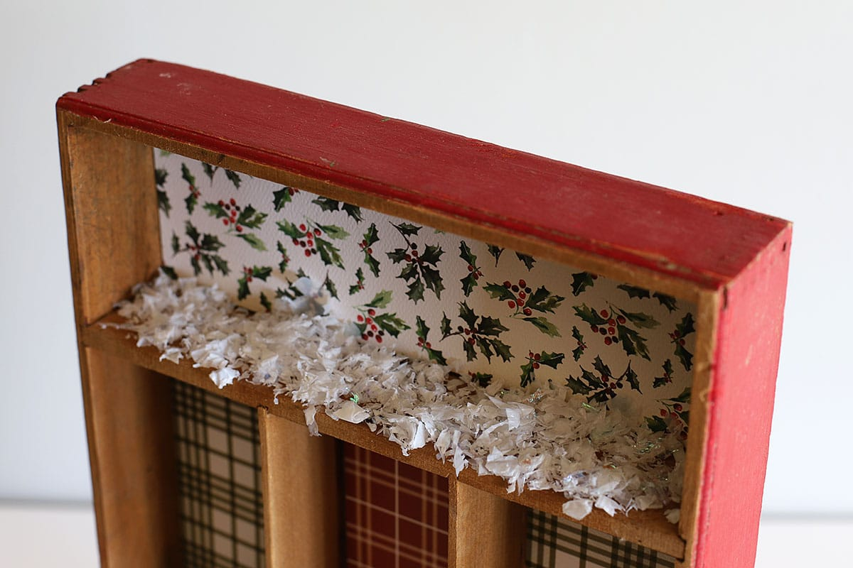 gluing snow in a shadowbox