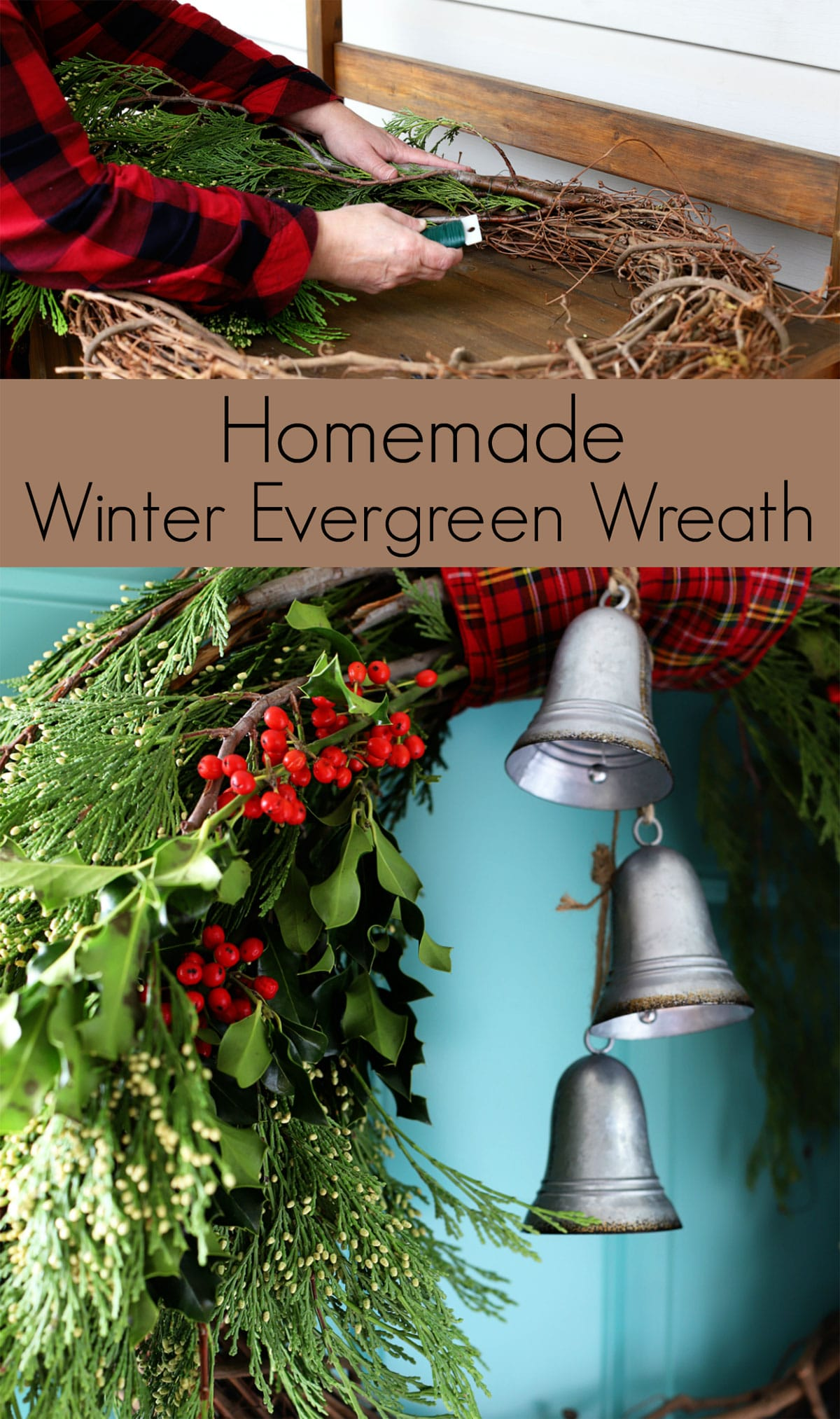 how to make a homemade winter wreath with cedar boughs, holly and bells
