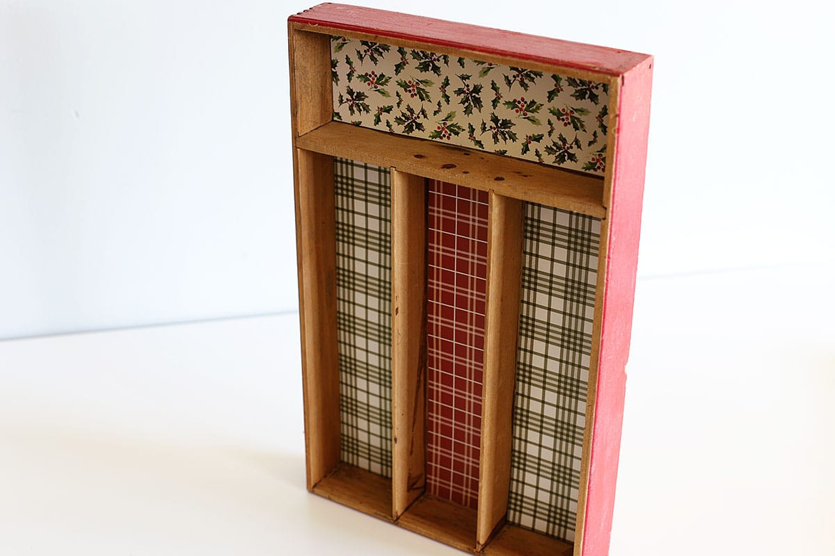 making a shadowbox out of a thrifted silverware tray
