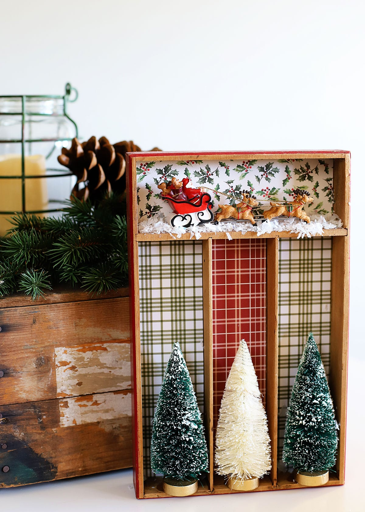 Upcycled Christmas Decor from thrift store silverware tray