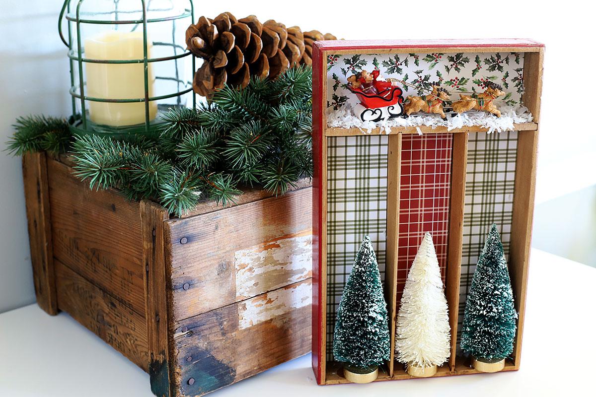 repurposed silverware tray turned Christmas shadowbox
