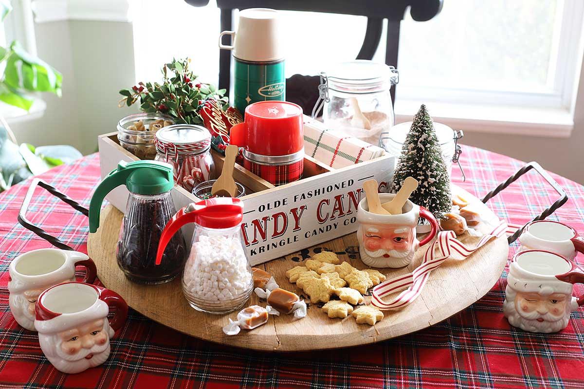 Christmas themed cocoa station