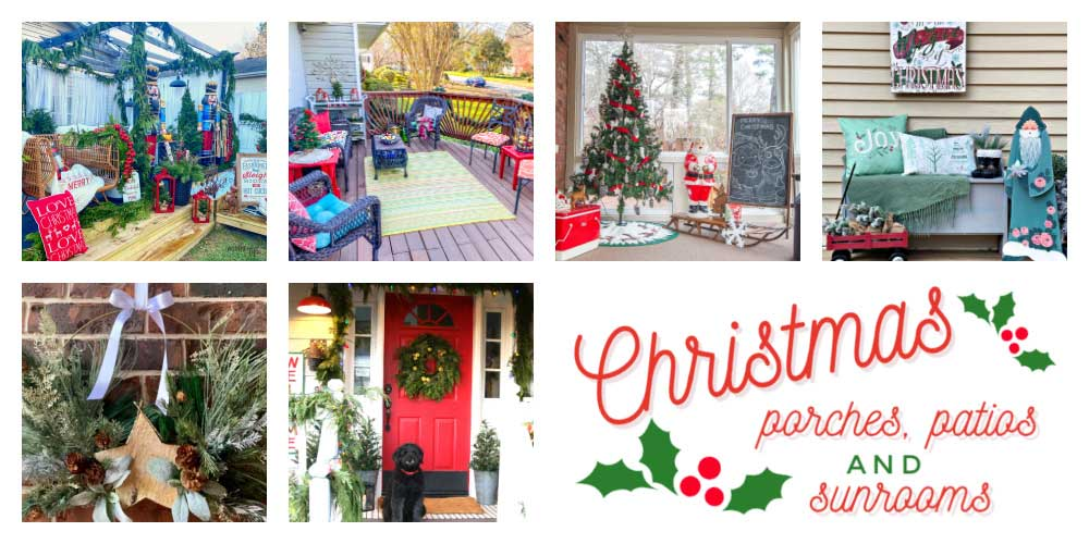collage showing six different porches decorated for Christmas