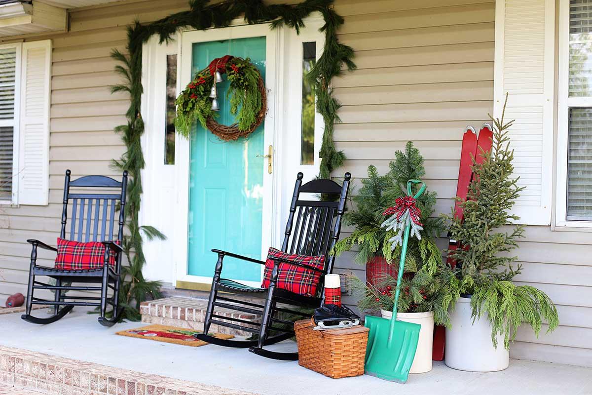 nostalgic porch decor for Christmas