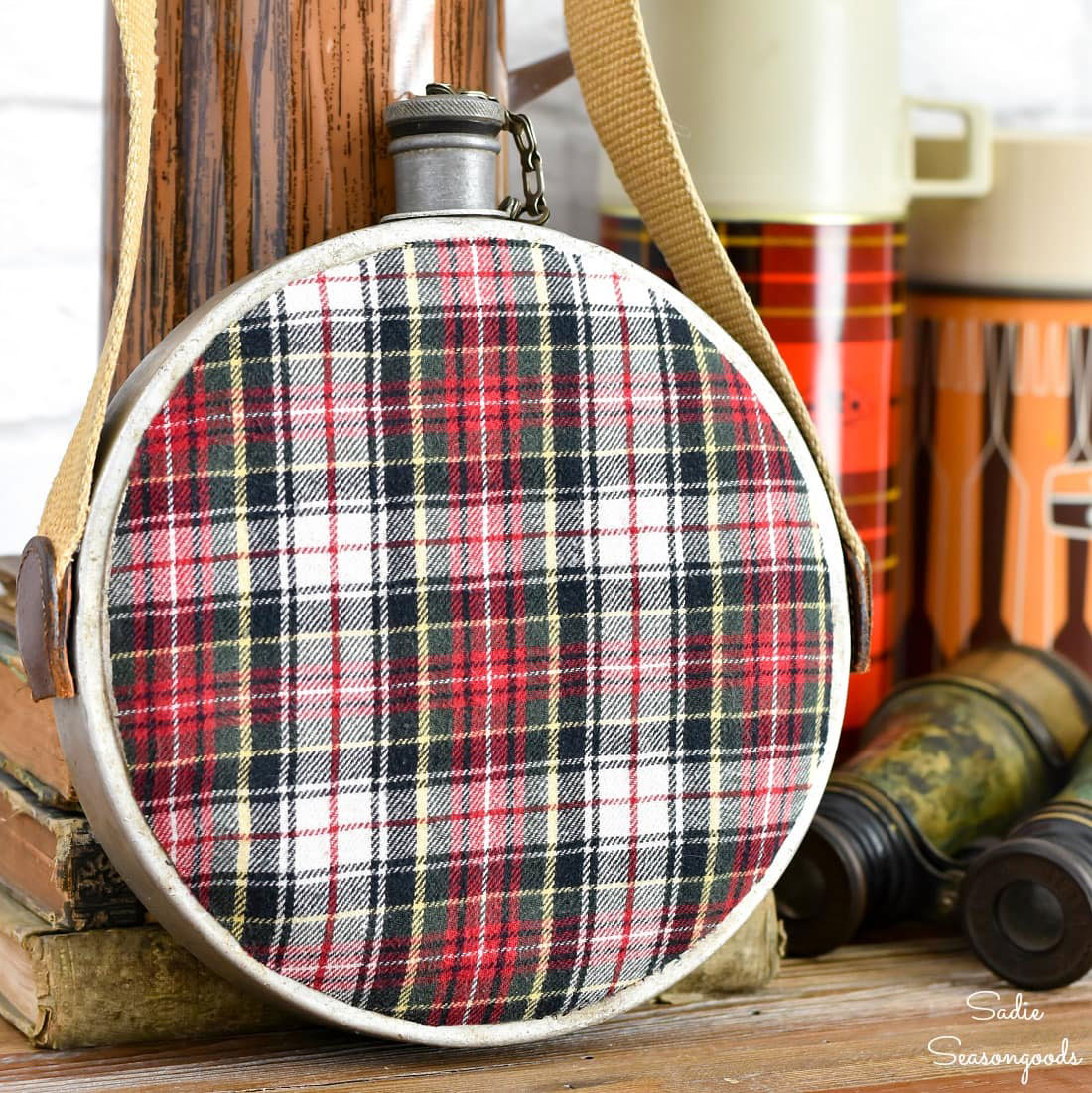 vintage metal canteen upcycled with plaid flannel shirt fabric